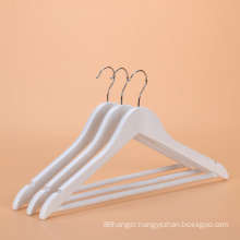 Promotional High quality supermarket white wooden hanger clothes coat hanger with chrome hook for wholesale