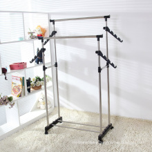 Clothing Garment Shoe Rack 3 Tiers Stainless Steel New Dual Bars Horizontal