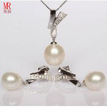 Комплект ожерелья перлы стерлингового серебра 925 установленный