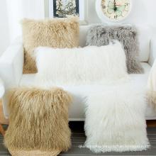 Top quality 100% Wool Mongolian Lamb Fur Throw Pillow cushion cover