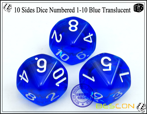 10 Sides Dice Numbered 1-10 Blue Translucent-1