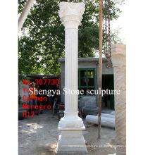 Coluna de escultura de pedra de mármore branco (SY-C003)
