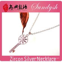 Sparking Jewelry Handmdade CZ Micro-inserts Silver Key Pendant CZ Necklace