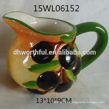 2016 jarra de leche de cerámica venta caliente con estatuilla de oliva