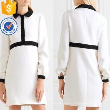 Senhora do escritório venda quente branco e preto manga longa mini vestido de verão manufatura grosso moda feminina vestuário (t0312d)