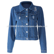 Good quality custom made jeans jacket for women and girls