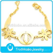 2016 pulsera de acero inoxidable 18 K chapado en oro de fundición de flores en forma de encanto pulseras joyas