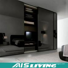 Armoire de chambre brillante noire avec miroir (AIS-W242)