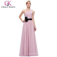 Grace Karin Ladies One shoulder Light Pink Chiffon Bridesmaid Dress CL6016-1#