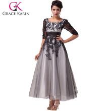 New Arrival 2015 Grace Karin Square Neckline Long Sleeve plus size Evening Dresses for Fat Women CL6051-1