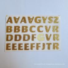 As palavras de AZ etiquetam as mini etiquetas feitas sob encomenda, etiqueta feita sob encomenda do brilho das letras do alfabeto dos cristais