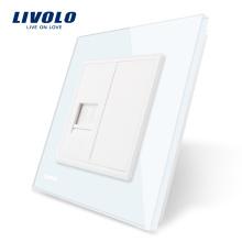 Vente en gros et au détail de panneaux en verre CrystalLivolo 1 Gang TEL prise / prise VL-C791T-11 sans adaptateur