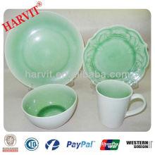 ceramic stoneware embossed flower and crackle glaze dinner set