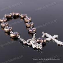 China fábrica de boa qualidade coração forma cristal rosário pulseira