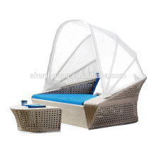 outdoor PE rattan canopy bed beach wicker sun bed chaise lounge