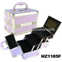 Фиолетовый алюминий косметический случай с 2 лотков и одно зеркало внутри, различных цветовых вариантах
