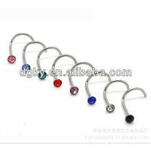 """L"" forma dobrada zircão nariz de aço inoxidável narizes corpo piercing jóias"