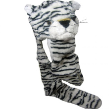 Top design White tiger animal hat with Fur paws and scarf