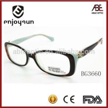 2015 новый стиль пользовательских дизайнер леди ацетат оптические очки с CE и FDA