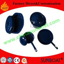 Carbon Steel Outdoor Use Enamel Oval Roaster+Bucket+Pan+Pot Cookware Set