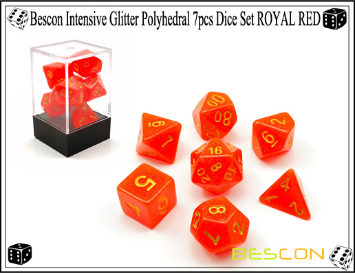 Bescon Intensive Glitter Polyhedral 7pcs Dice Set ROYAL RED-6