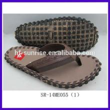 SR-14ME055(1) china cheap men cloth flat wholesale slippers factory men cheap wholesale slippers neww fashion pu slippers men's