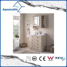 Vanity de madeira compensada com Top de mármore artificial e bacia cerâmica (ACF8904)