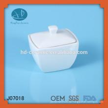 Weißer quadratischer keramischer Behälter, Großhandelszuckertopf mit Deckel,