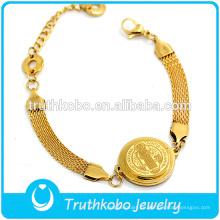 18 K Broche de oro Pulseras de cadena Cristianismo Rosario Joyas Acero inoxidable