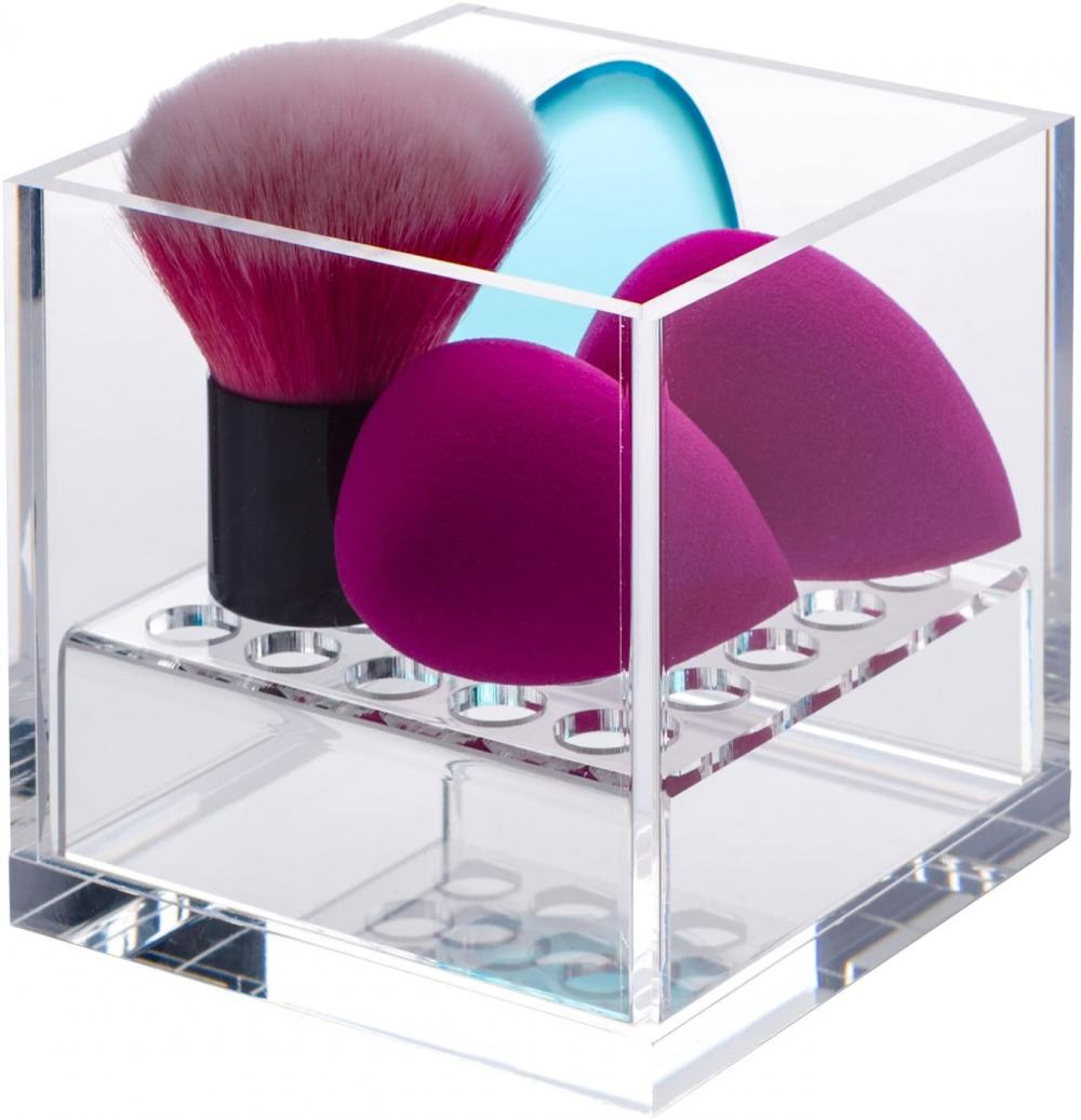 Acrylic Cube Makeup Sponge Holder