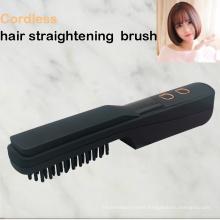 Wireless hair straightening comb