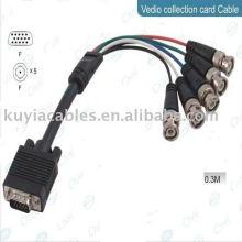 HD15 Câble mâle VGA vers 5BNC Câble vidéo RGBHV Câble HDTV 30CM pour système CCTV