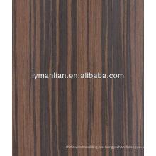 chapa de zebrawood negro utilizado para la decoración