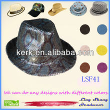 LSF41, Sequins Decorative made from Cotton/Polyester Fedora Hat