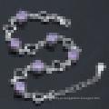 Bracelete feminino em forma de coração de 925 prata esterlina diamante roxo
