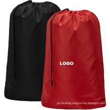 Custom hotel home oversize durable reusable folding nylon drawstring bag laundry wash bag