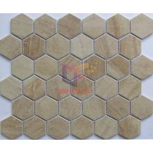 Polished Yellow Marble Ceramic Mosaic Tile (CST277)