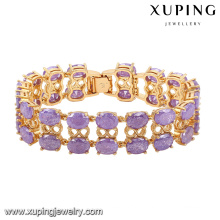 74467-moda luxo grande cz imitação de strass jóias pulseira para casamento chapeado com ouro 18k