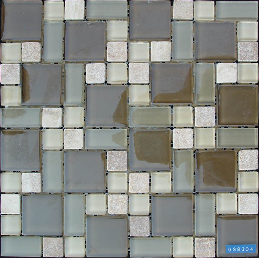 Brown Glass Mixed Stone Mosaic