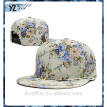 6 panel sapback cap with print cotton good quality make in china