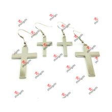 Metal moda simples estilo cruz pendente brincos jóias (CPE51031)