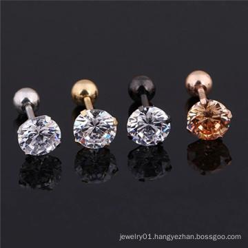 1 pcs Medical Cartilage Piercing Jewelry Stainless Steel Crystal Zircon Ear Stud Earrings for Women Men