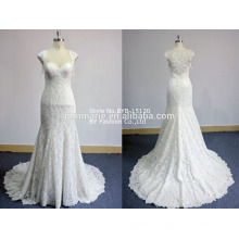 cap sleeves wedding dress rhinestone appliques illusion back lace import a-line bridal wedding dress