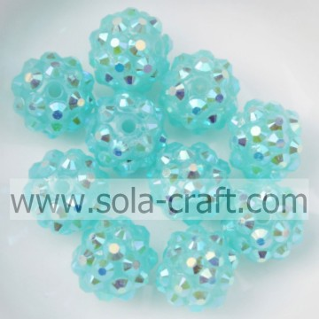 Türkis AB Color Acrylharz Strass 10 * 12MM Spacer Beads