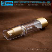 ZB-CB30 de boa qualidade 30ml ouro como / SAN alta clara oval airless garrafas de plástico