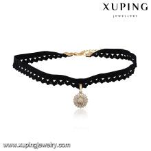 43684 Hot sale popular ladies jewelry multi-stone paved circle shaped pendant choker necklace