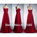 Real Sample Custom Made Floor Length Sweetheart Chiffon Long Red Bridesmaid Dress