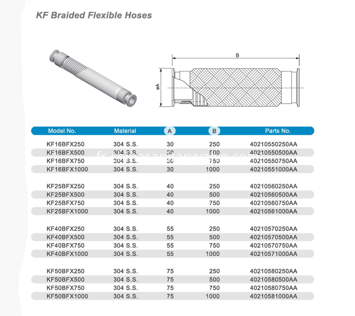 KF Baided Flexible Hoses Drawings