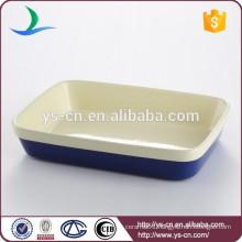 Good quality rectangular dark blue ceramic bakeware for home