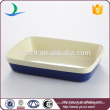 Boa qualidade retangular azul escuro bakeware cerâmica para casa